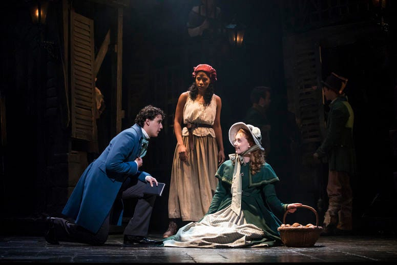 (From L) Joshua Grosso as 'Marius,' Paige Smallwood as 'Éponine' and Jillian Butler as 'Cosette' in the new national tour of LES MISÉRABLES