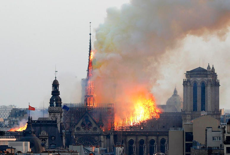 Flames rise from Notre Dame cathedral as it burns in Paris, Monday, April 15, 2019.