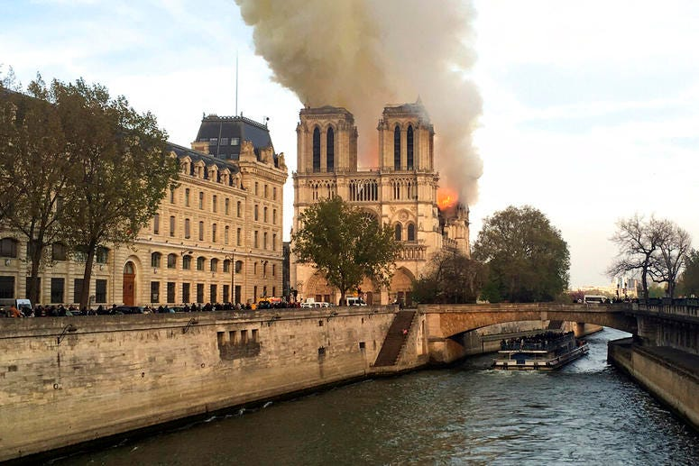 Notre Dame cathedral is burning in Paris, Monday, April 15, 2019.