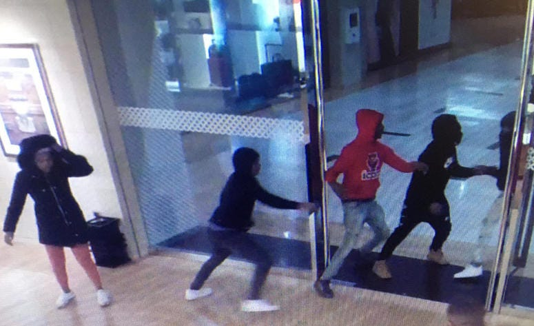 Authorities released surveillance photos of a group of people wanted in connection with purse thefts Oct. 16, 2019, at Northbrook Court, 1515 Lake Cook Road in Northbrook.