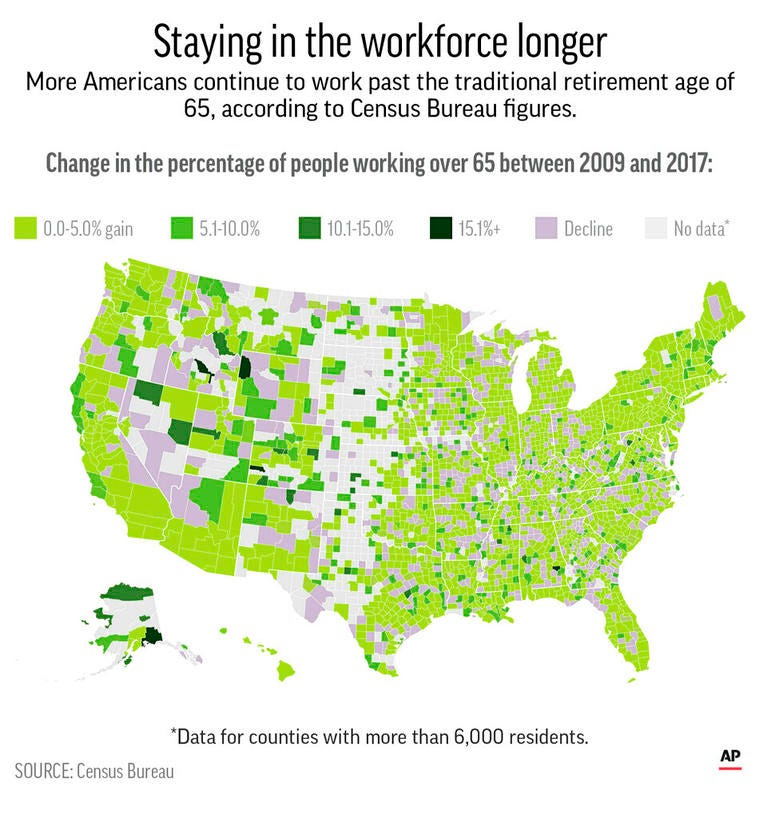 County-level data of the percentage change in workers age 65 and older in the workforce between 2009 and 2017;