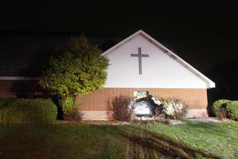 Upon arrival, police discovered a silver 2007 Lexus left the road, drove onto grass, and crashed through the wall of Living Waters Lutheran Church, causing significant damage to borth the building and vehicle.