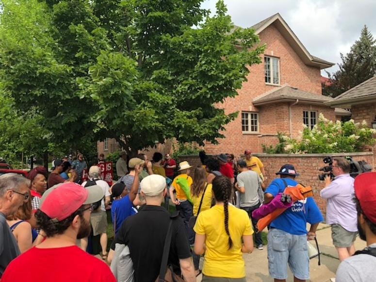 Protest at Sen. Cullerton house