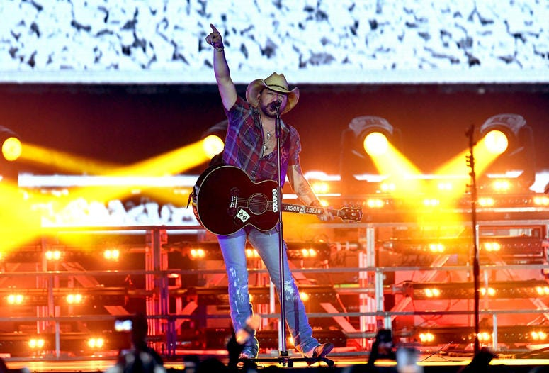 Jason Aldean performs onstage during the 2019 Stagecoach Festival at Empire Polo Field on April 28, 2019 in Indio, California.