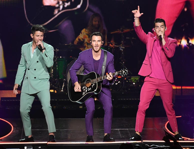 Nick Jonas, Kevin Jonas, and Joe Jonas of The Jonas Brothers perform in concert at Madison Square Garden on August 29, 2019 in New York City.