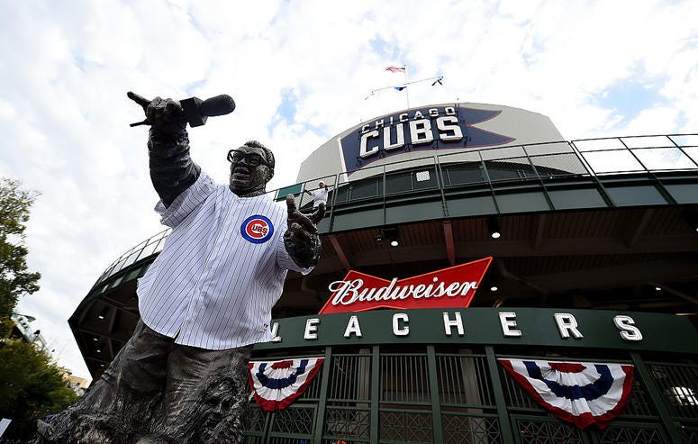 CHICAGO, ILLINOIS - OCTOBER 07: A statue of Harry Caray stands in front of Wrigley Field before the game between the Chicago Cubs and the San Francisco Giants on October 7, 2016 in Chicago, Illinois.