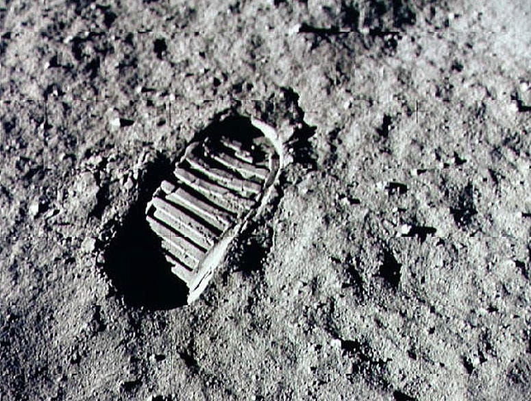 Neil Armstrong steped into history July 20, 1969 by leaving the first human footprint on the surface of the moon.
