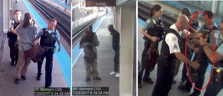 Surveillance video shows Jordan Watkins allegedly carrying an AK-47 on the CTA's Belmont platform in 2017.