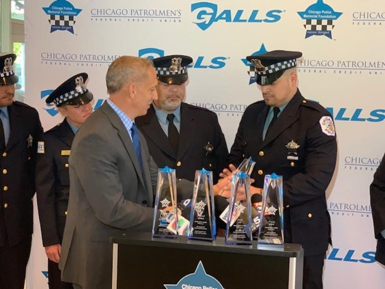 The Chicago Police Memorial Foundation honored five Chicago Police Officers that were shot at while serving a search warrant in March.
