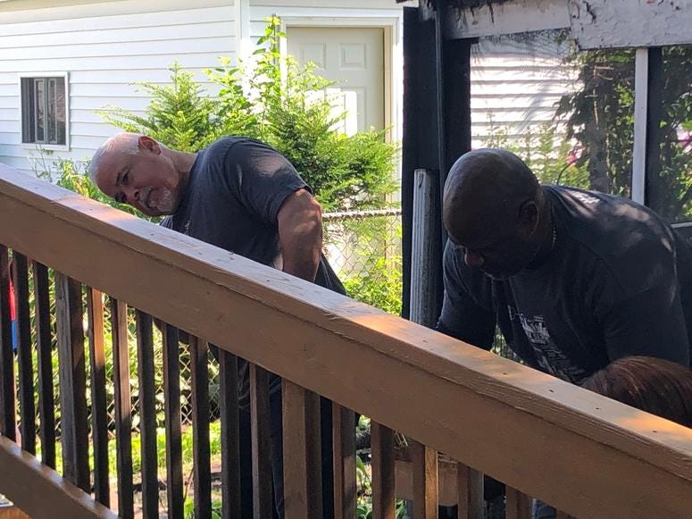 Dozens of White Sox Volunteer Corps members, along with members of the White Sox coaching staff, in partnership with Rebuilding Together Chicago, were painting, installing carpeting and appliances, and repairing damage on Wednesday.