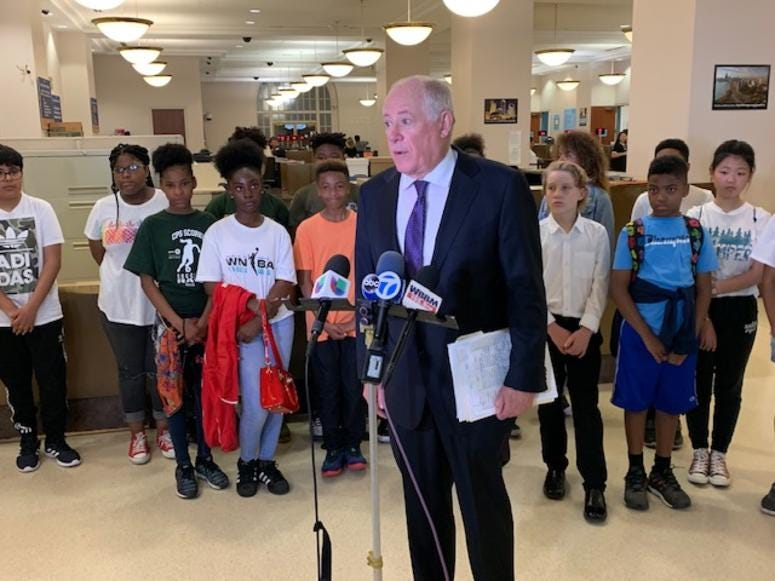 Governor Pat Quinn is helping middle schoolers at Ray Elementary in Chicago officially file an ordinance with the City Clerk.