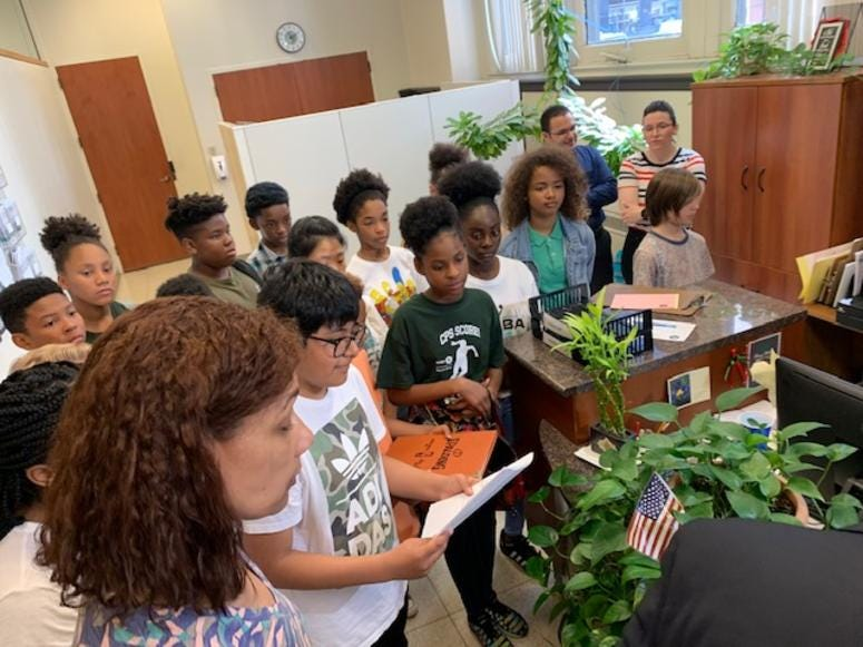 A group of Chicago Public School students spent one of their first days of summer at City Hall, hoping to make history while helping the environment.