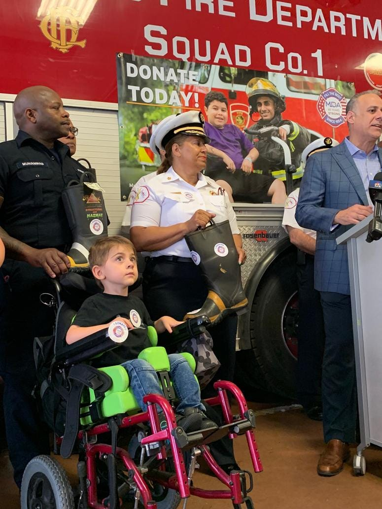 Chicago firefighters will be on street corners for the next three afternoons to raise money in the fight against muscular dystrophy, ALS and other related neuromuscular diseases.