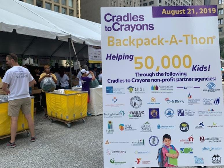 Cradles 2 Crayons Hosts Fourth Annual Backpack-A-Thon At Daley Plaza