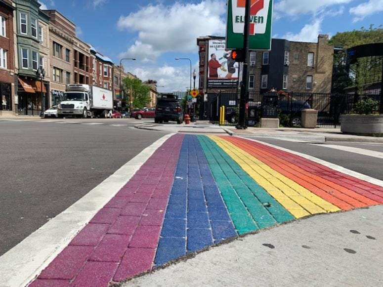 The city of Chicago dedicated 14 rainbow and colored crosswalks in the Boystown neighborhood on Thursday.