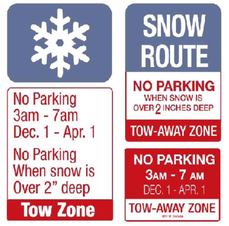 Examples of the City of Chicago overnight parking ban signs.