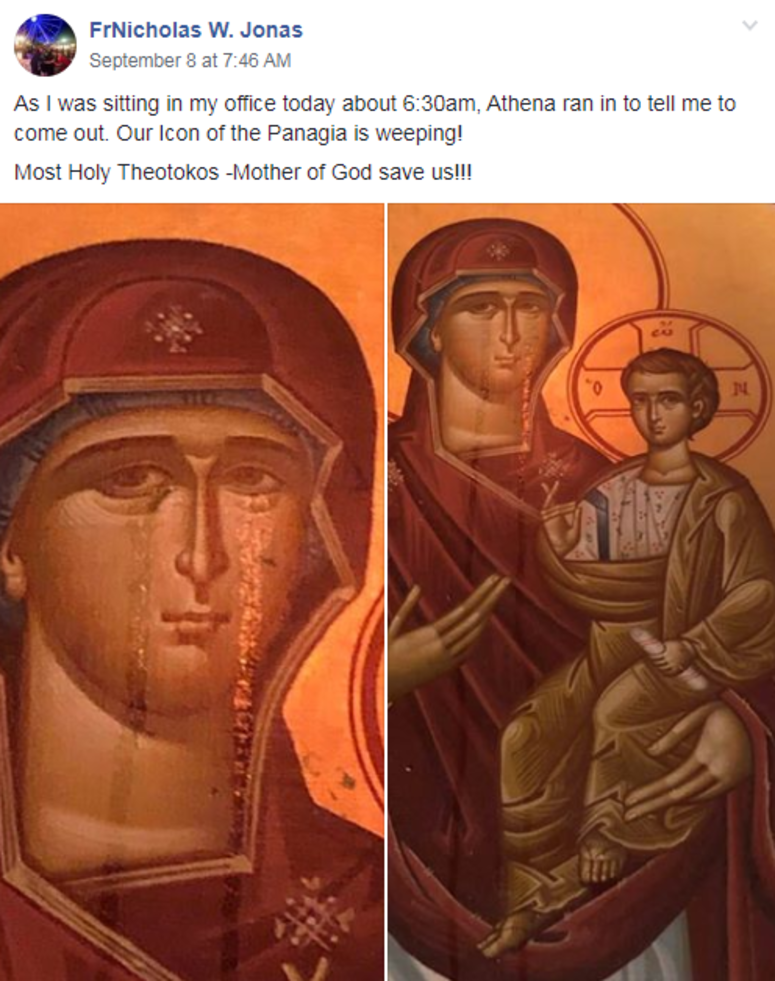 Icon of the Panagia weeping