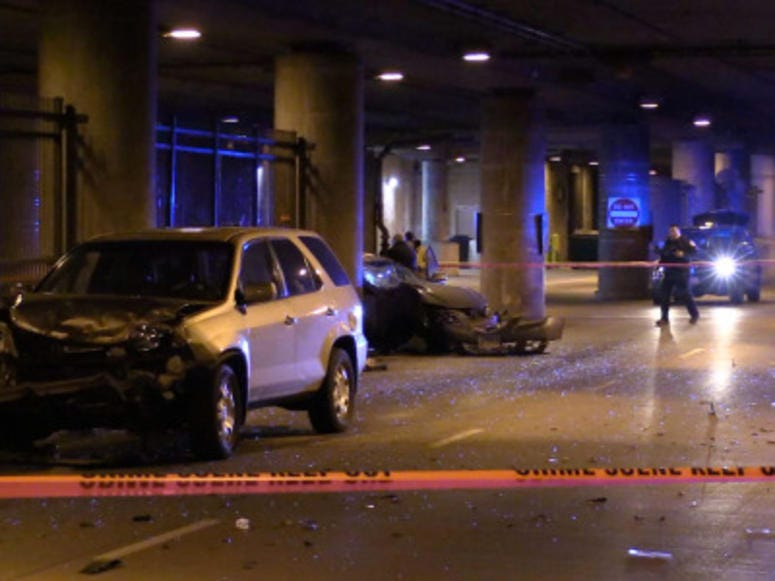 Police investigate a serious crash about 4:30 a.m. Friday, January 11, 2019 in the 100 block of West Wacker Avenue in Chicago. |
