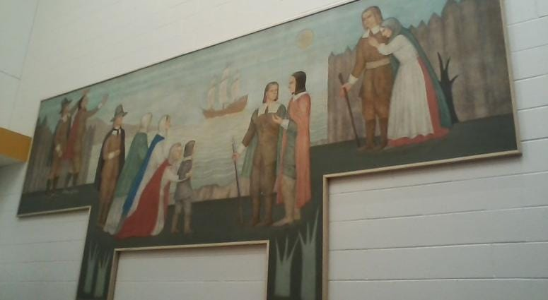 Depression era mural repaired and restored at Freeman Elementary School