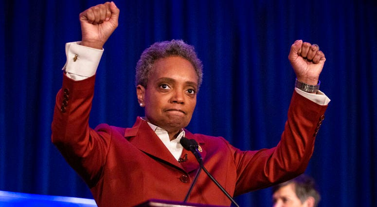 Lori Lightfoot celebrates at her election night rally at the Hilton Chicago after defeating Toni Preckwinkle in the Chicago mayoral election, Tuesday, April 2, 2019.