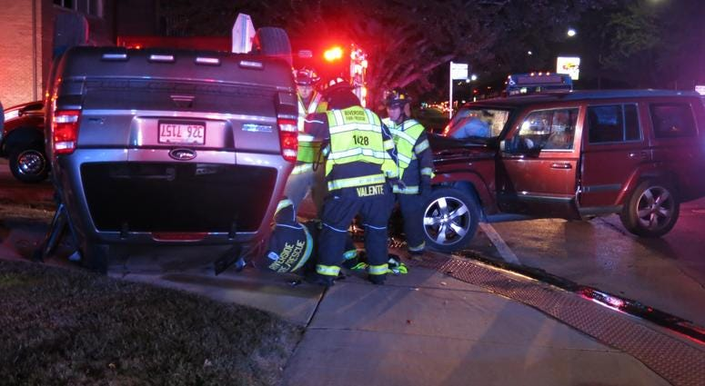 Riverside authorities investigate a rollover crash that sent an entire family to a hospital on Aug. 9, 2018.