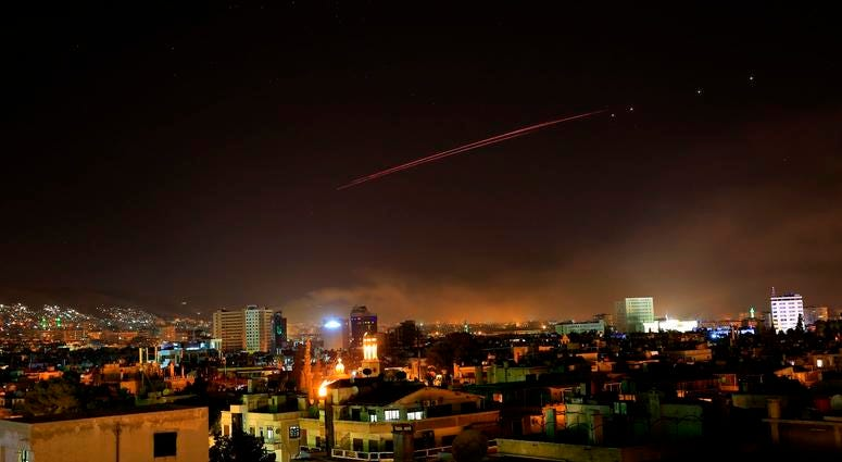 yria's capital has been rocked by loud explosions that lit up the sky with heavy smoke as U.S. President Donald Trump announced airstrikes in retaliation for the country's alleged use of chemical weapons.