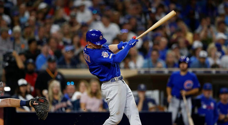Chicago Cubs' Nico Hoerner hits a two-RBI triple during the fifth inning of a baseball game against the San Diego Padres Monday, Sept. 9, 2019, in San Diego.