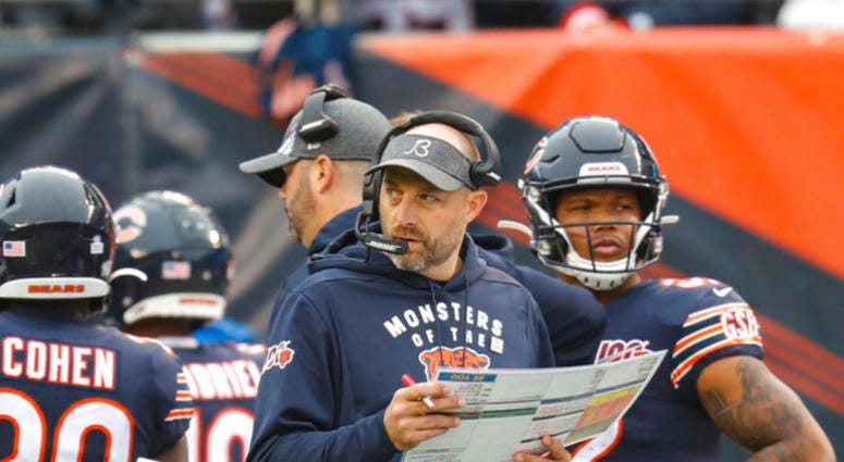 Chicago Bears head coach Matt Nagy paces the sideline during the first half of an NFL football game against the New Orleans Saints in Chicago, Sunday, Oct. 20, 2019.