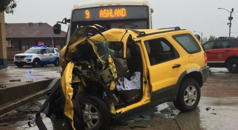 A vehicle was badly damaged in a crash with a CTA bus in Back of the Yards.