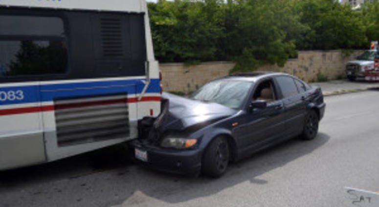 A car rear-ended a bus, Aug. 17, 2019, in Hyde Park on the South Side.