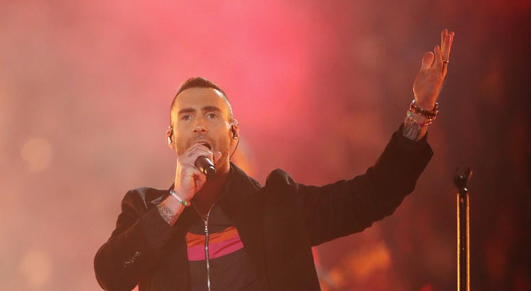 Adam Levine and Maroon 5 perform during the Pepsi Super Bowl LIII Halftime Show at Mercedes-Benz Stadium on February 3, 2019 in Atlanta, Georgia.