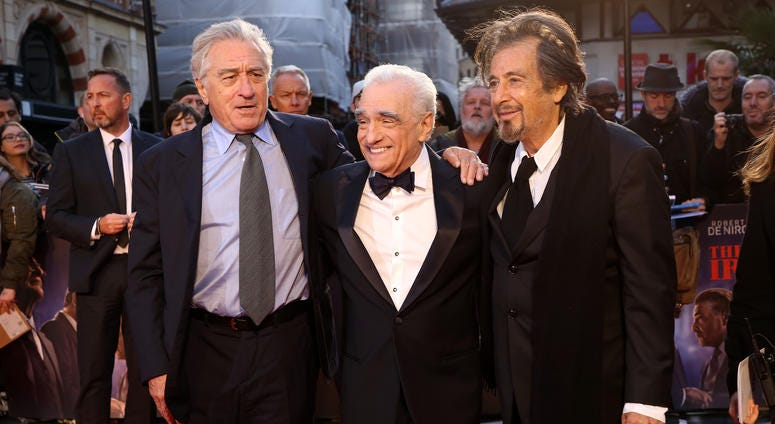"(L-R) Robert De Niro, Martin Scorsese and Al Pacino attend ""The Irishman"" International Premiere and Closing Gala during the 63rd BFI London Film Festival at the Odeon Luxe Leicester Square on October 13, 2019 in London, England."