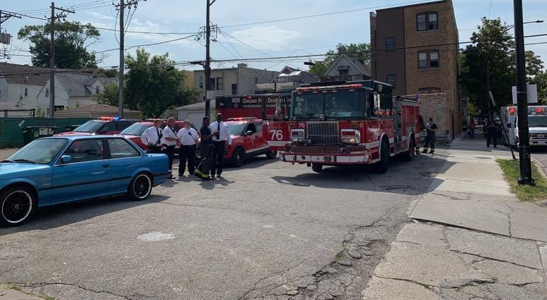 The Chicago Fire Department is conducting a hazardous materials response after a suspicious package was found in a mailbox Sept. 22, 2019, near Fullerton and Central Park avenues in Logan Square.
