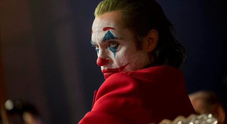 """his image released by Warner Bros. Pictures shows Joaquin Phoenix in a scene from """"Joker,"""" in theaters on Oct. 4."""