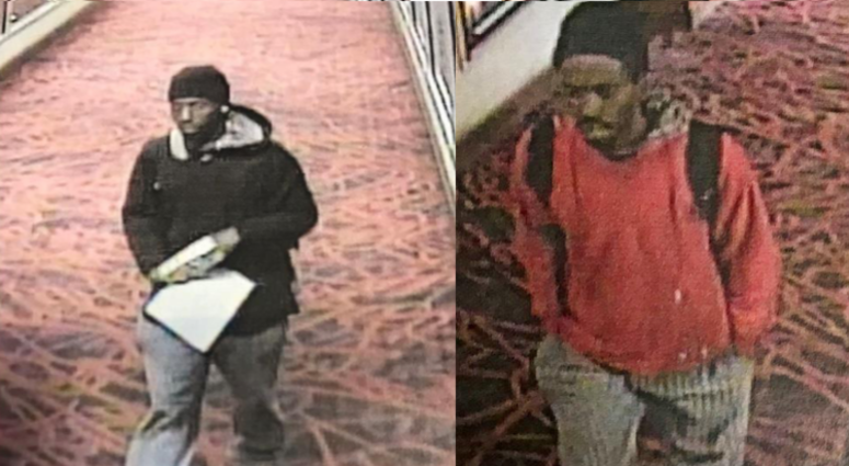 Surveillance images of a person of interest in a fatal stabbing March 24 at the Harah's Joliet Hotel and Casino.