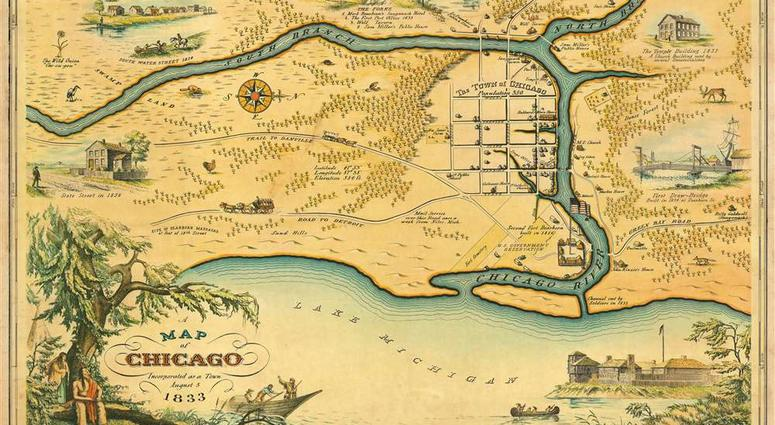 Rare Map Of 1833 Chicago For Sale   WBBM-AM