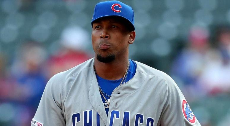 Chicago Cubs reliever Pedro Strop stands on the mound.