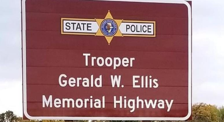 A portion of I-94 was dedicated Oct. 21, 2019, in honor of Trooper Gerald Ellis.