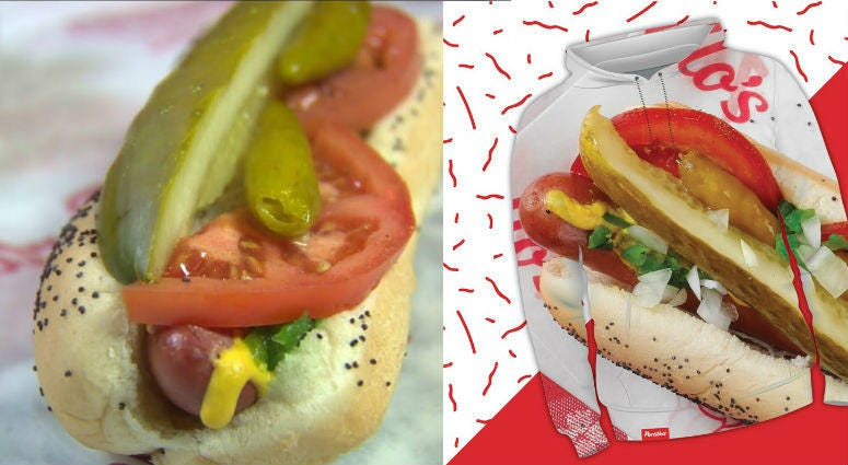 """Portillo's has launched a merchandise line, titled the '1963 Collection'that """"honors our pride and joy...the hot dog!"""""""