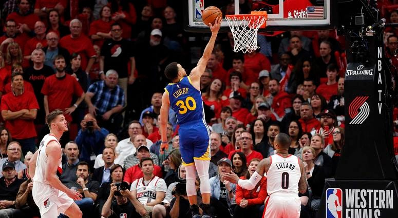 Warriors guard Stephen Curry playing the Portland Trailblazers in the 2019 playoffs