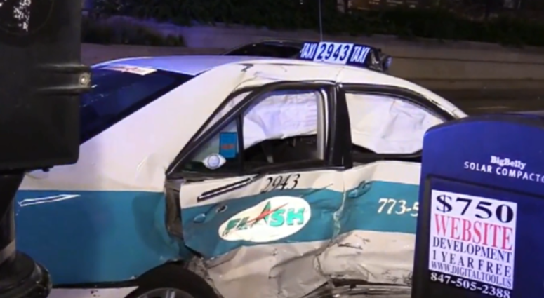 A man riding in a taxi was killed in a two-vehicle crash Thursday in the Loop