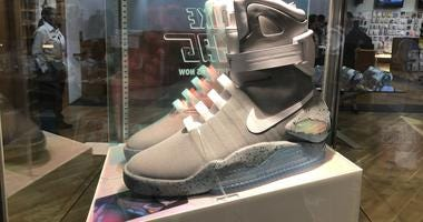 A rare pair of Back to the Future Nike Air Mag sneakers, valued between $30,000 and $50,000, will be on display during the Urban Art Pop-up Trunk Show at the MCA Store April 5-7 and April 7-11.