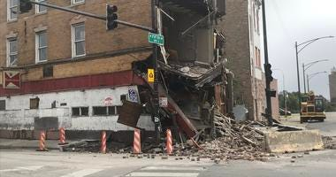 A man was injured when a building partially collapsed Sept. 12, 2019, at a construction site at Fifth Avenue and Pulaski Road.