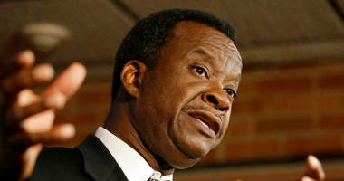 FILE - In this Feb. 4, 2018 file photo businessman Willie Wilson, candidate for the office of Mayor of Chicago, speaks at a news conference in Chicago. Wilson who is again running for mayor says he wasn't trying to buy anyone's vote when he handed out clo