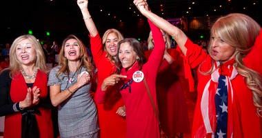 Members of the Trumpettes celebrate as incumbent U.S. Sen. Ted Cruz, R-Texas, is announced as the winner over Democratic challenger Rep. Beto O'Rourke in a tightly contested race at the Dallas County Republican Party election night watch party on Tuesday,