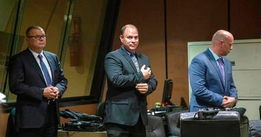 FILE - In this Oct. 30, 2018 file photo, from left, former Detective David March, Chicago Police Officer Thomas Gaffney and former officer Joseph Walsh appear at a pre-trial hearing at Leighton Criminal Court Building in Chicago. Prosecutors have laid out