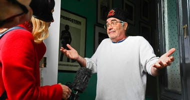 Danny Baker speaks to the media at his London home on Thursday, May 9, 2019. A BBC DJ has been fired after using a picture of a chimpanzee in a tweet about the royal baby born to Meghan the Duchess of Sussex and her husband Prince Harry.