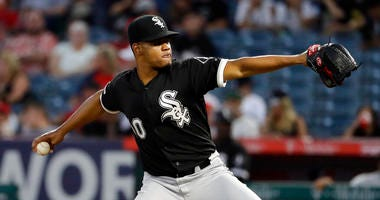 Chicago White Sox starting pitcher Reynaldo Lopez throws to a Los Angeles Angels batter during the second inning of a baseball game Thursday, Aug. 15, 2019, in Anaheim, Calif.