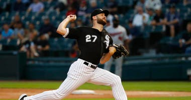 Chicago White Sox starting pitcher Lucas Giolito delivers during the first inning of the team's baseball game against the Minnesota Twins on Tuesday, Aug. 27, 2019, in Chicago.