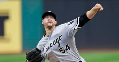 Chicago White Sox starting pitcher Ross Detwiler delivers in the first inning in a baseball game against the Cleveland Indians, Monday, Sept. 2, 2019, in Cleveland.